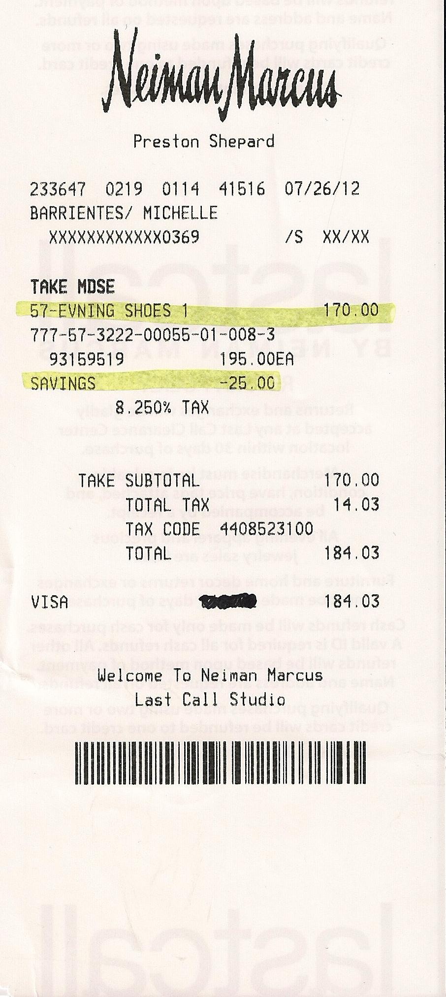 Neiman marcus credit card - Neiman Marcus Receipt